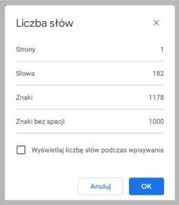 Ilość znaków w Google Docs.