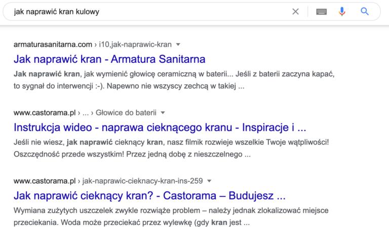 """Wyniki wyszukiwania po wpisaniu frazy """"jak naprawić kran kulowy"""""""